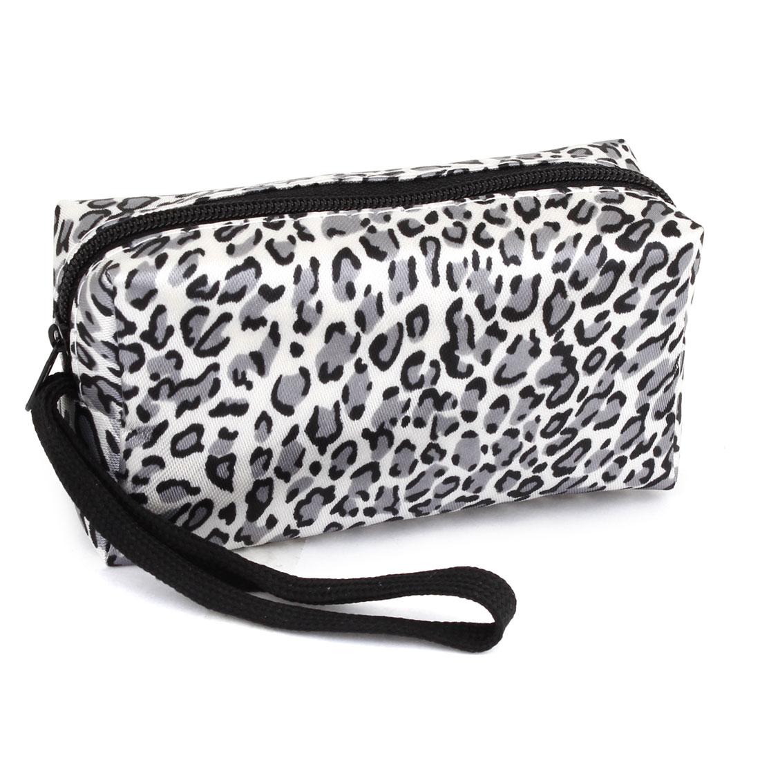 Lady Gray White Black Polyester Zipper Leopard Pattern Coin Purses Wallet Bag