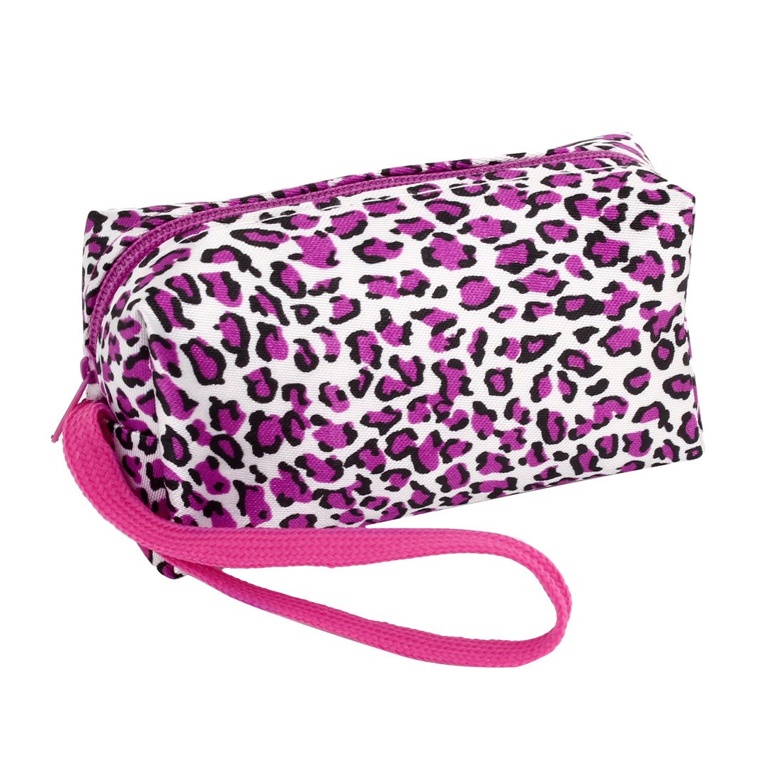 Lady Fuchsia White Black Polyester Zip Up Leopard Print Coin Purses Wallet Bag