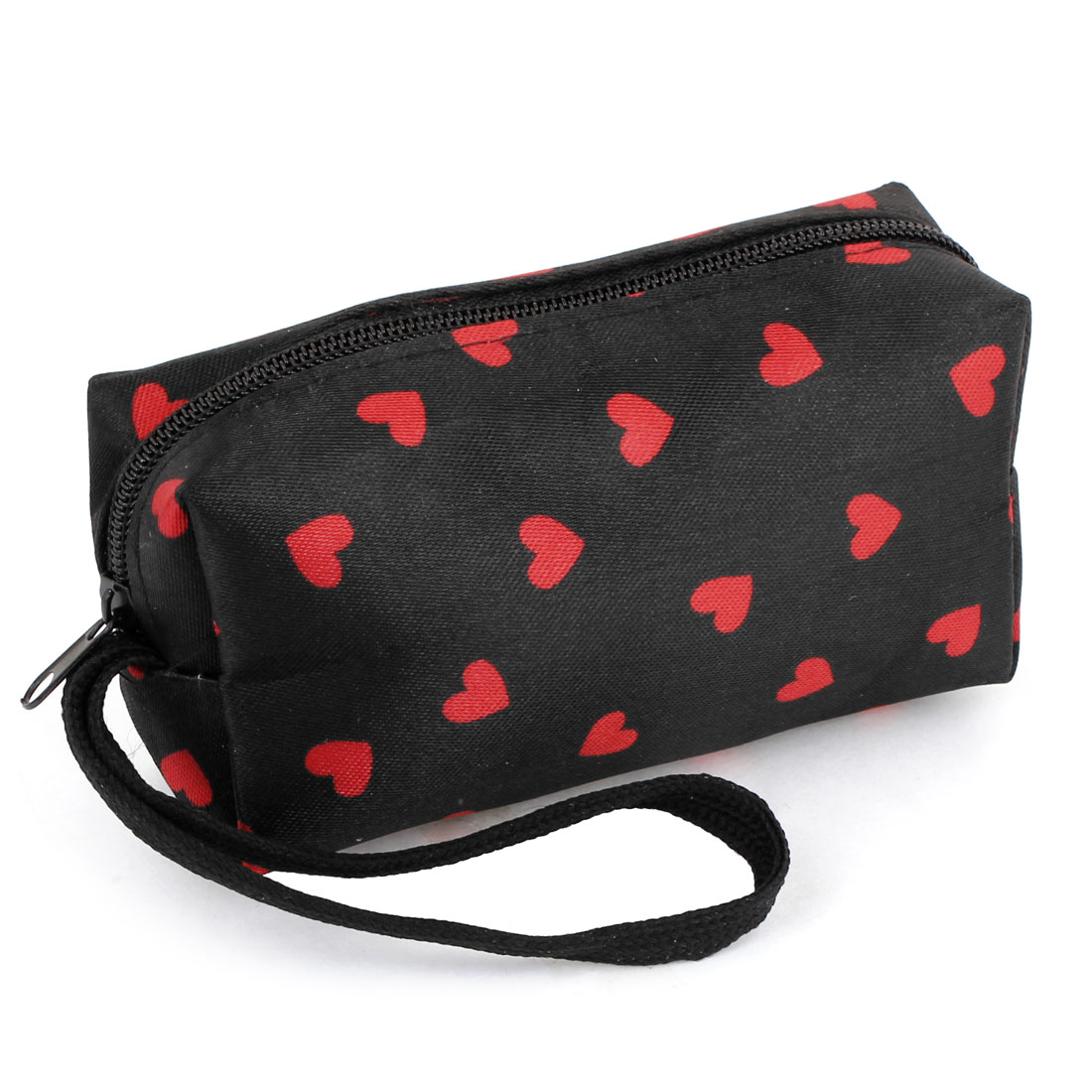Red Black Zip Up Heart Pattern Strap Coin Change Purses Wallet Bag for Women