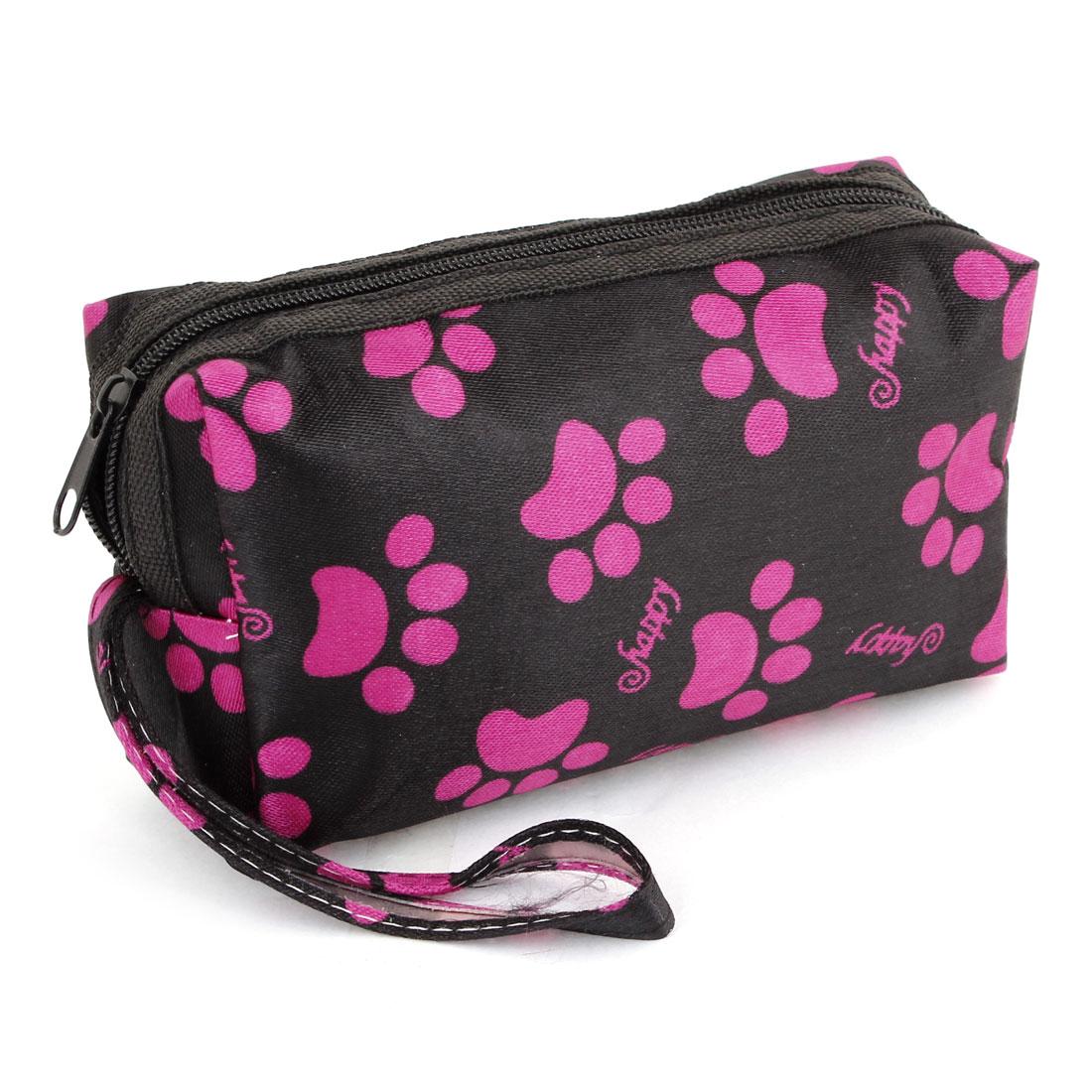 Lady Fuchsia Black Single Pocket Zip Up Dog Paw Print Coin Purses Wallet Bag