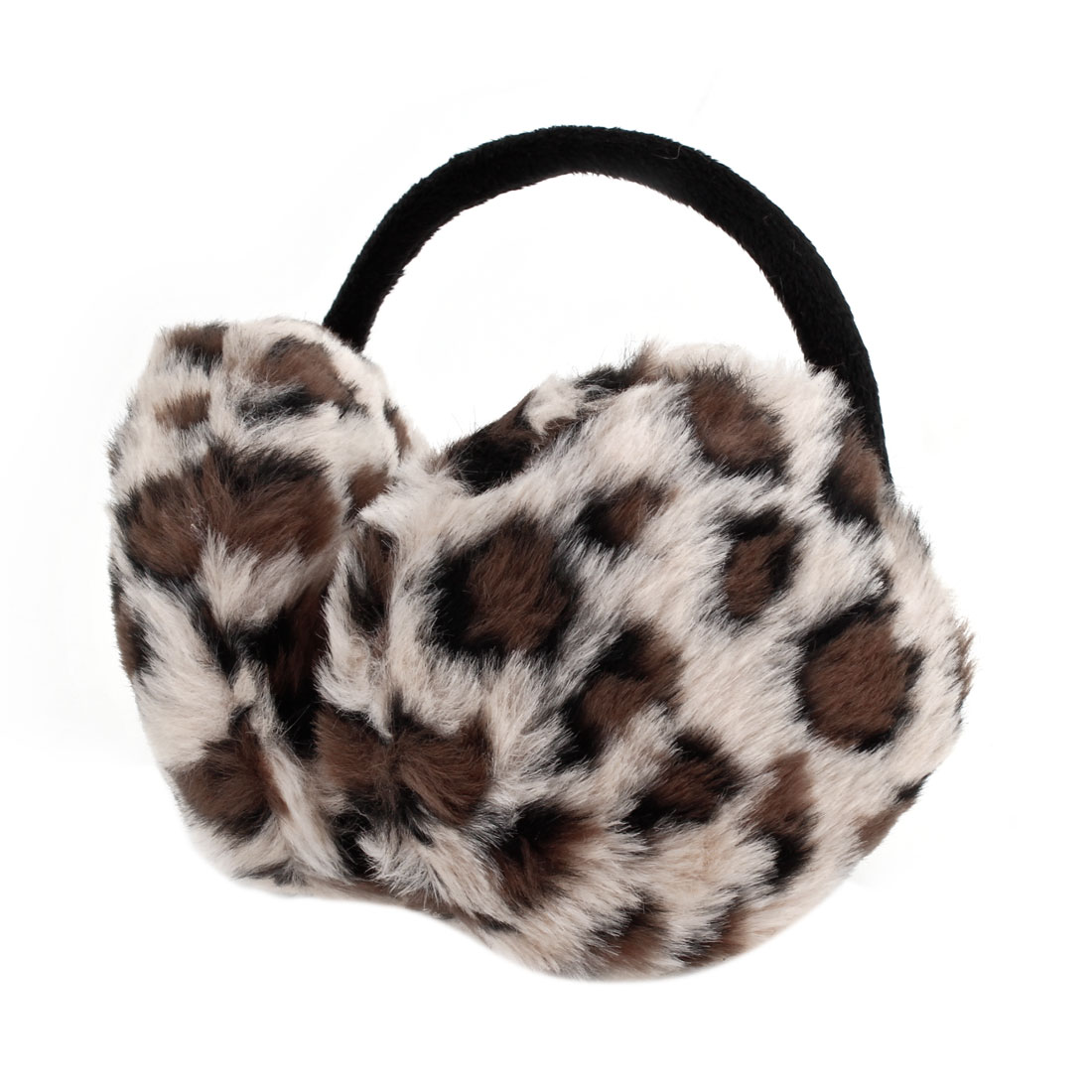 Women Men Round Faux Fur Leopard Print Pads Ear Muffs Back Cover Earmuffs