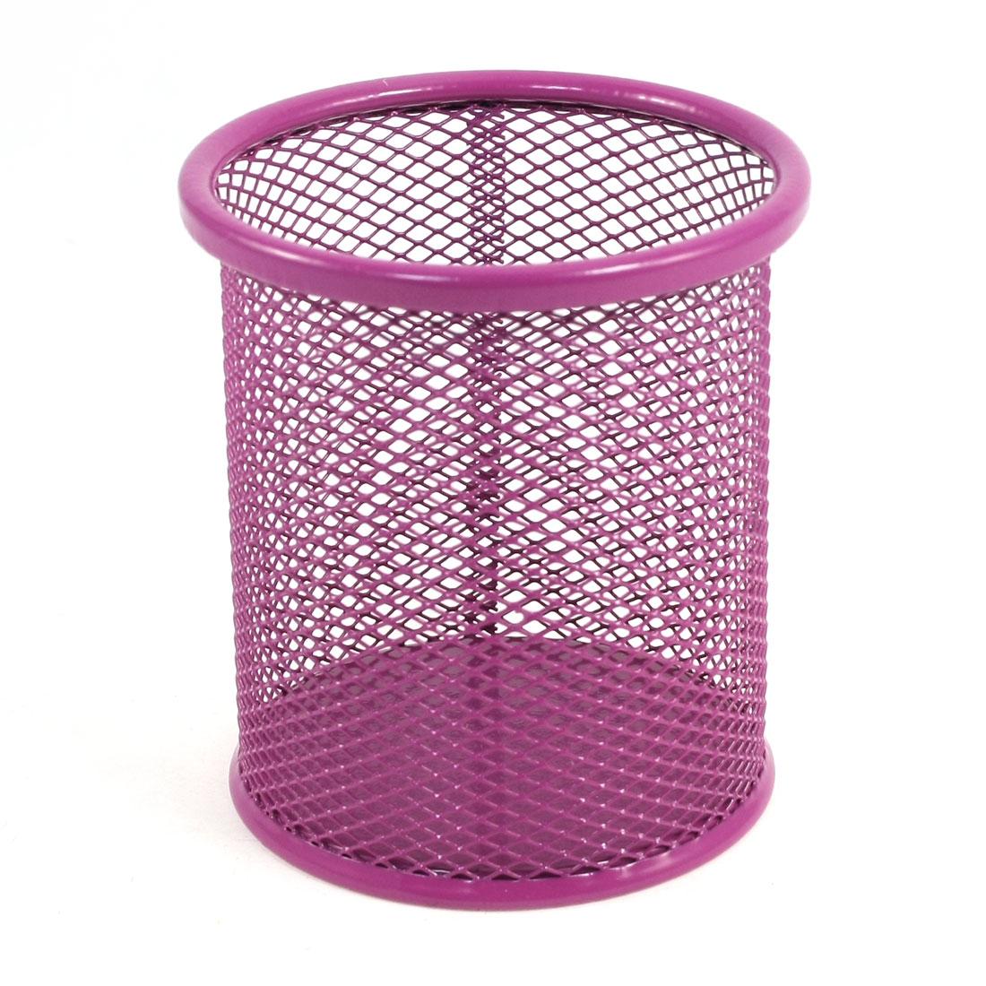 Metallic Mesh Cylinder Shape Stationery Holder Box Container Fuchsia