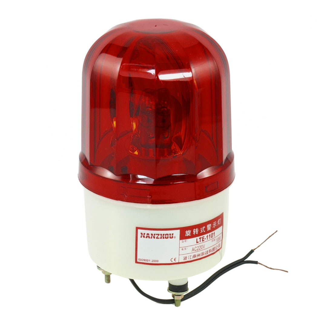 AC220V Red Rotating Flash Light Industrial Signal Warning Lamp w Buzzer