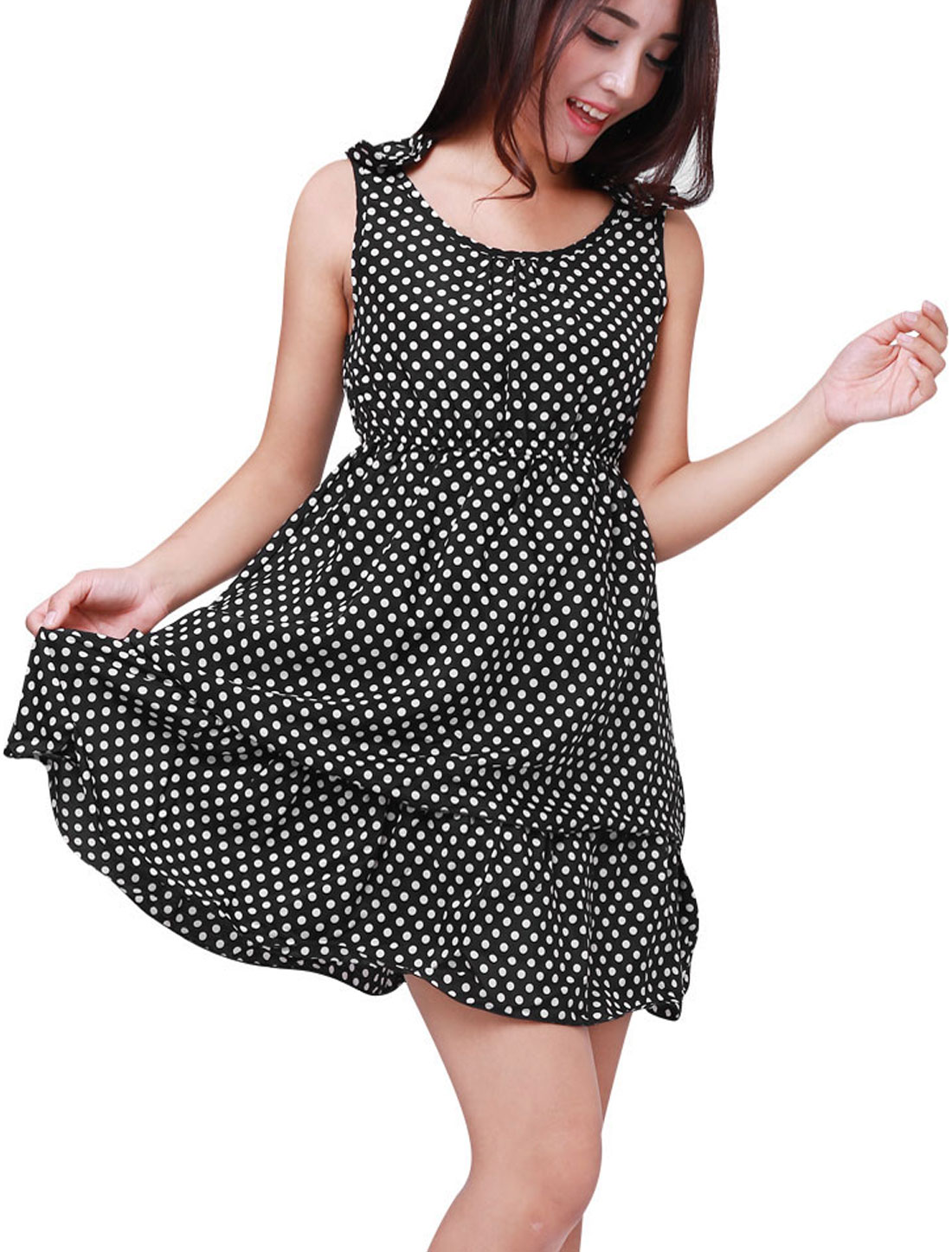 Women Chic Polka Dots Pattern Black Tiered Ruffled Mini Dress L