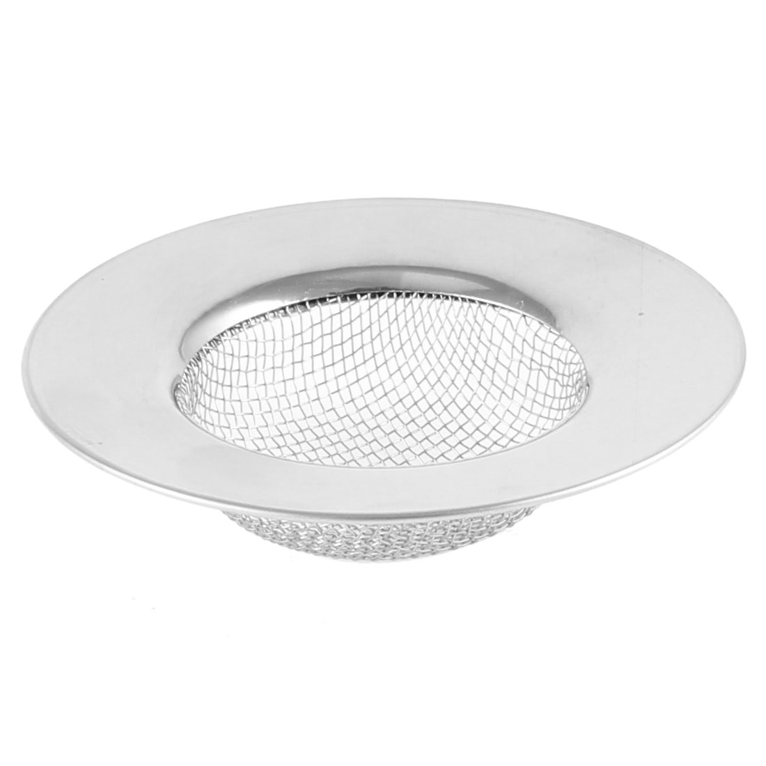 Kitchen Mesh Holes Design 77mm Dia Water Sink Drainer Strainer Silver Tone