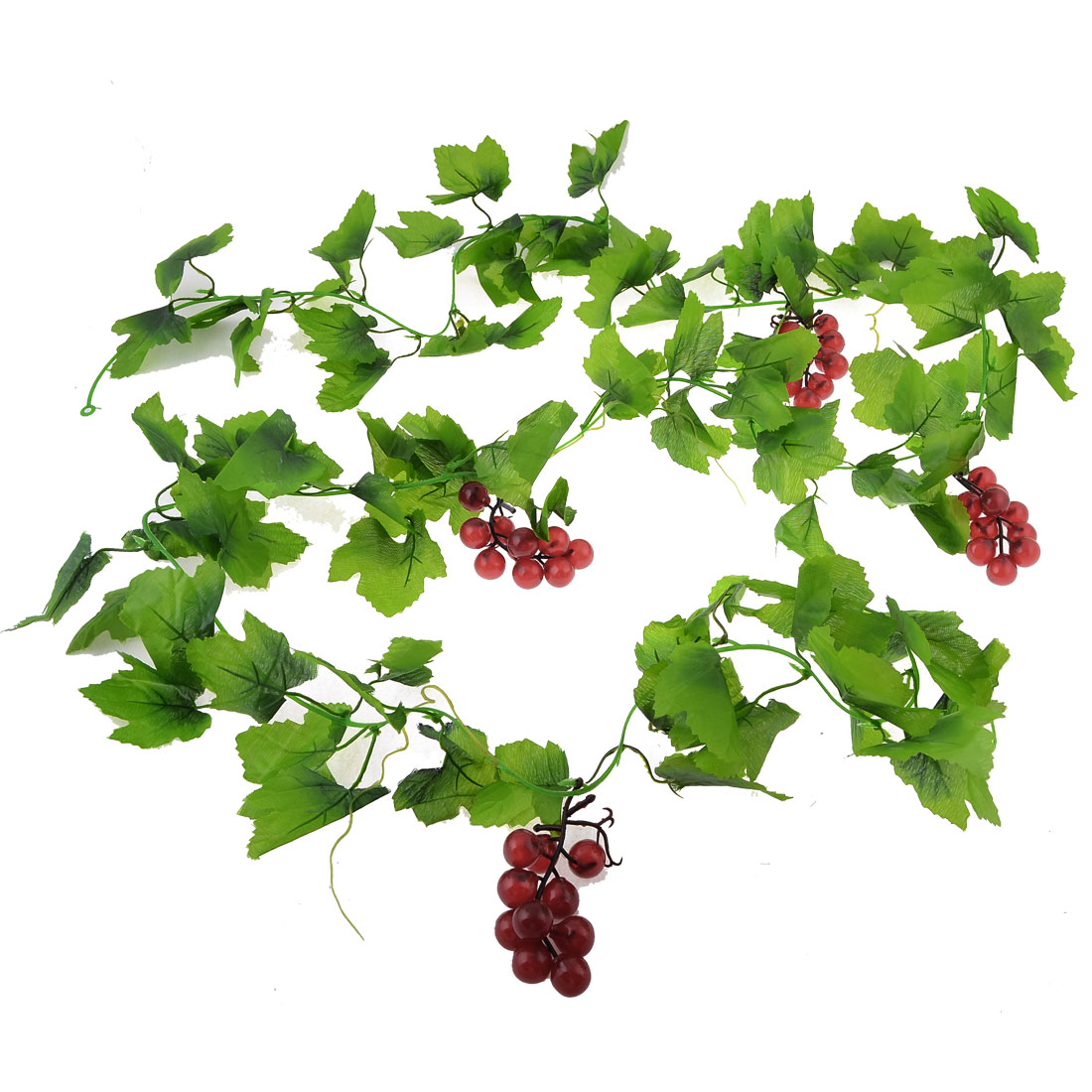 Burgundy Plastic Grape Green Leaves Wall Ornament Hanging Vine 2.4M