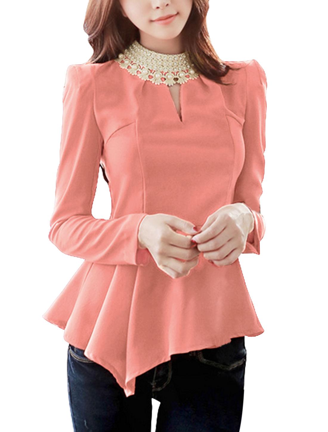 Ladies Pullover Long Sleeved Asymmetric Hem Pink Peplum Top XS