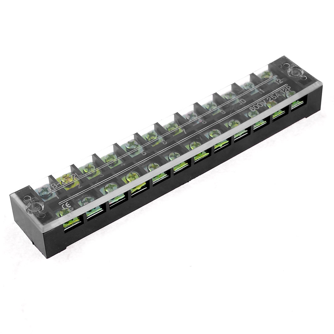 12-Position 600V 25A Dual Row Barrier Block Screw Terminal Strip