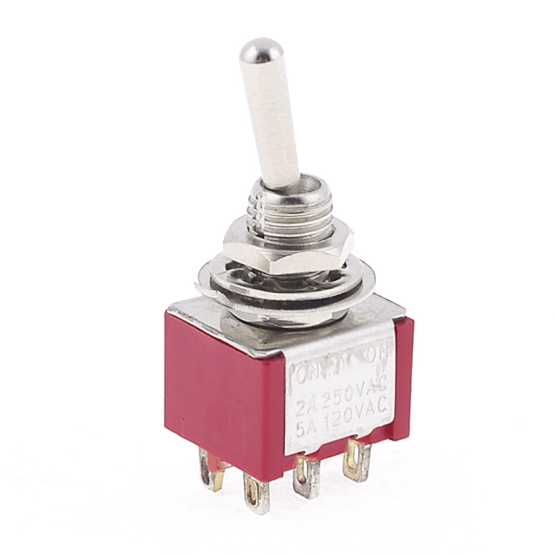 AC 2A 250V 5A 120V 2 Position 6Pins Red ON-ON Toggle Switch