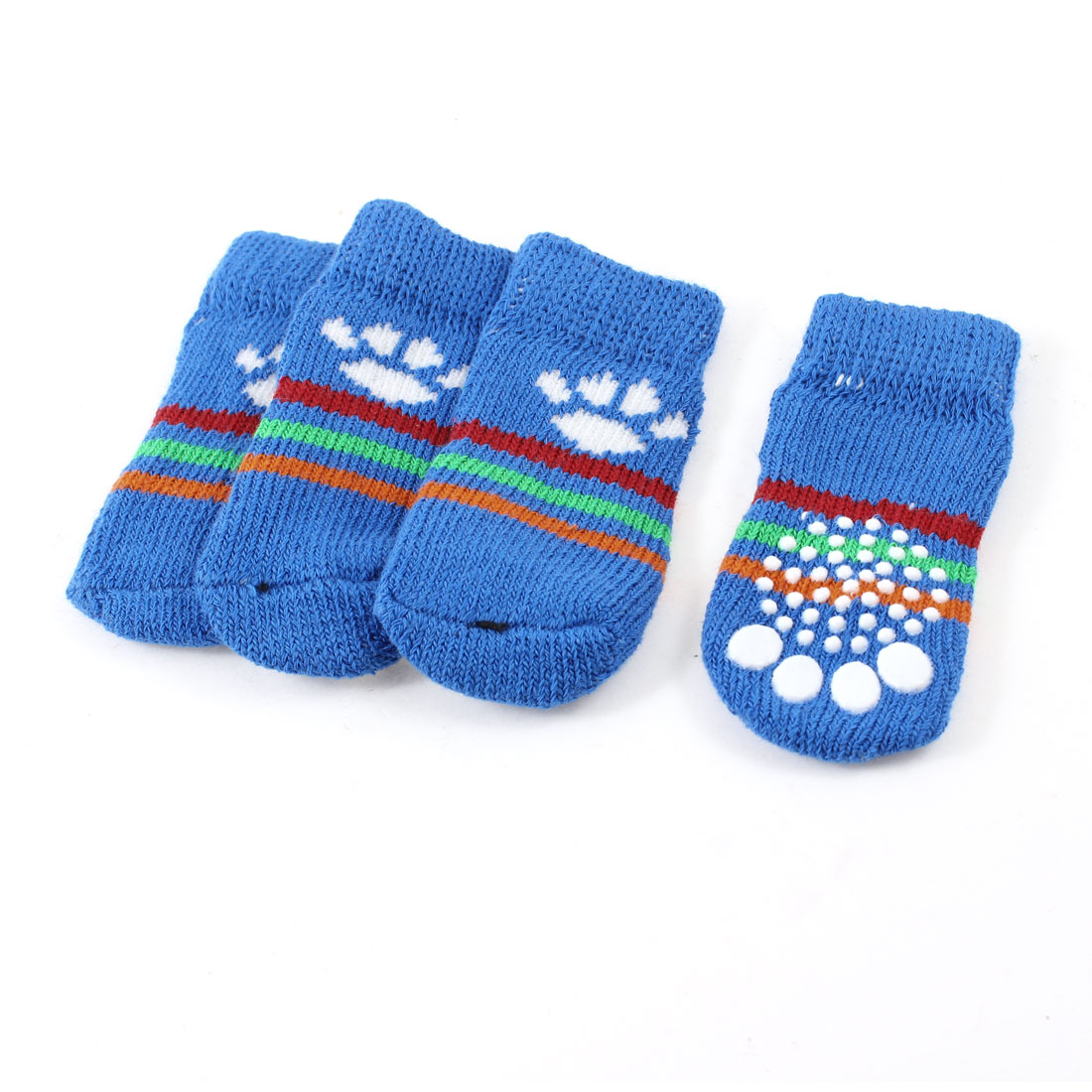 2 Pairs Blue Hand Knit Paw Stripe Print Elastic Nonskid Pet Dog Doggy Socks