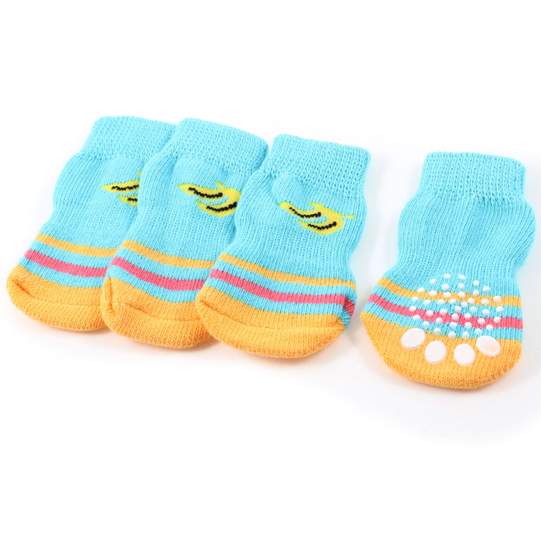 2 Pairs Blue Yellow Knitting Banana Paw Pattern Stretchy Pet Dog Puppy Socks