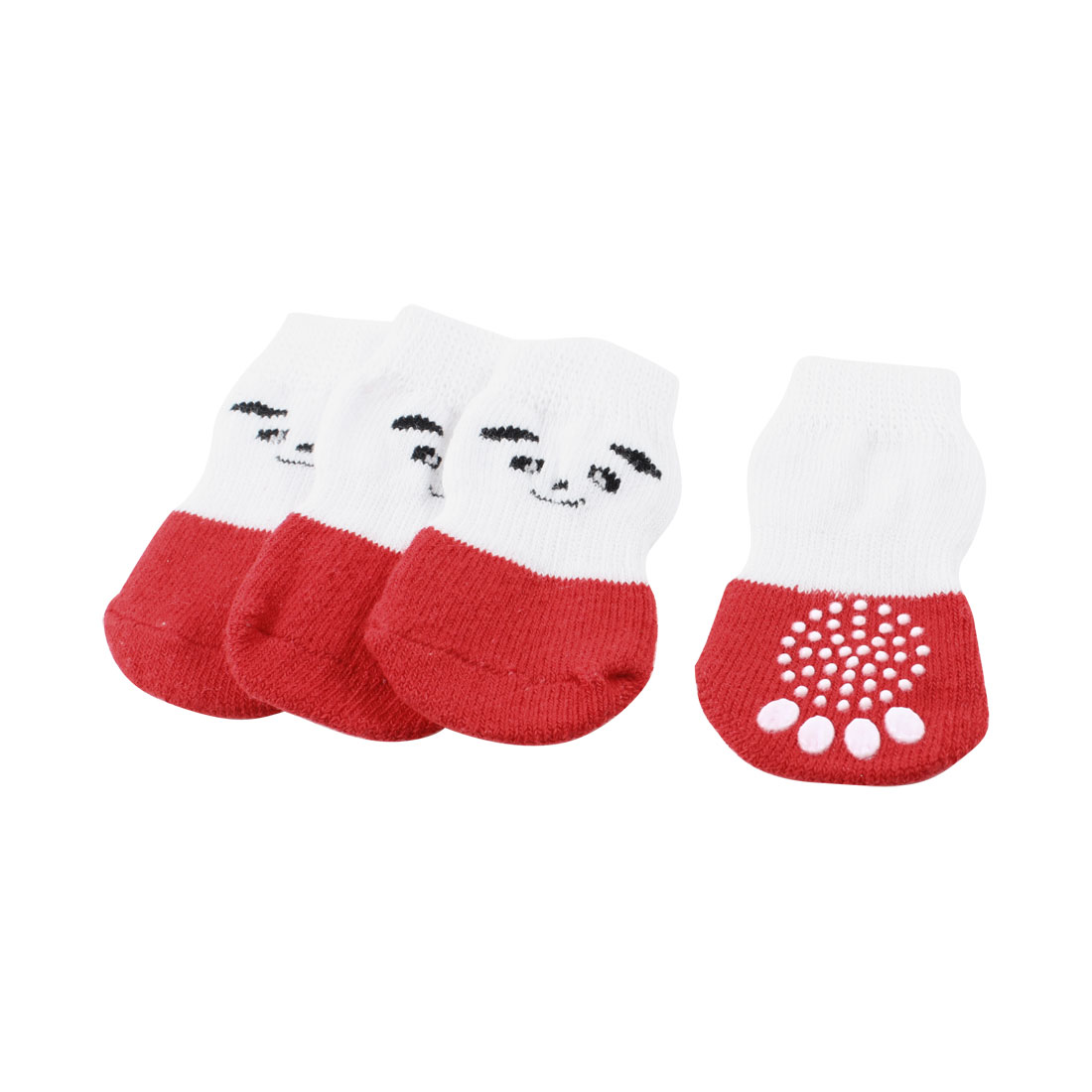 2 Pairs White Red Knitting Paw Pattern Stretchy Nonslip Pet Dog Doggy Socks