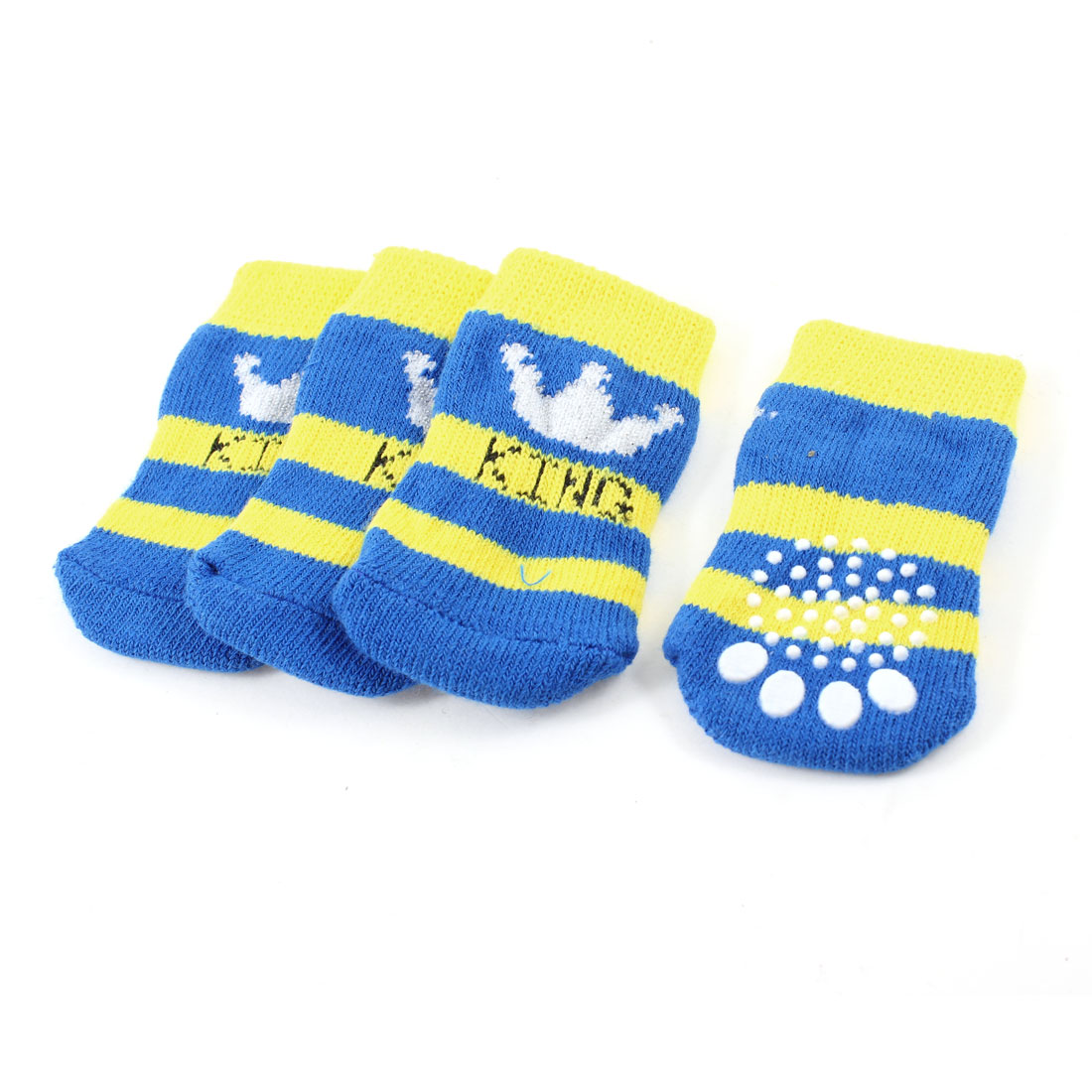 2 Pairs Blue Yellow Crown Paw Pattern Knitted ELastic Pet Dog Puppy Socks