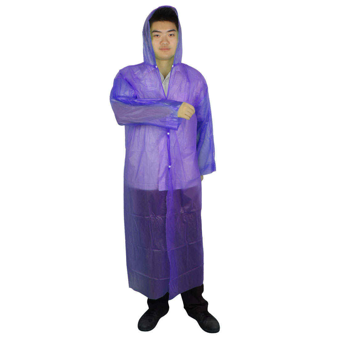 Adult Bicycle Pullover Design Purple Plastic Disposable Hooded Raincoat Poncho