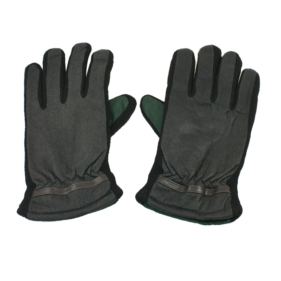 Unisex Pair Dark Gray Green Winter Warm Full Finger Thick Gloves M