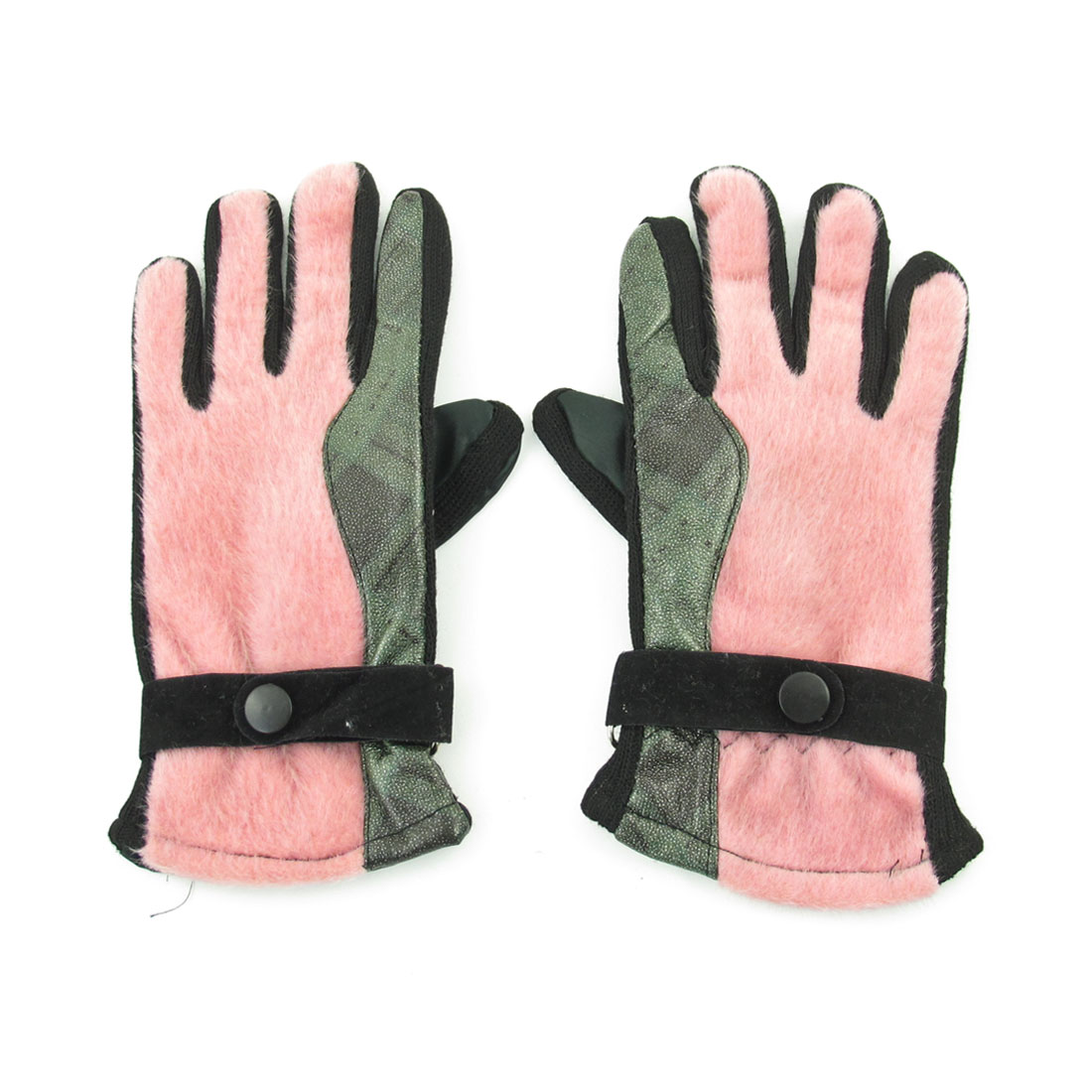 Pair Rosy Brown Fleece Lining Full Finger Winter Gloves for Lady