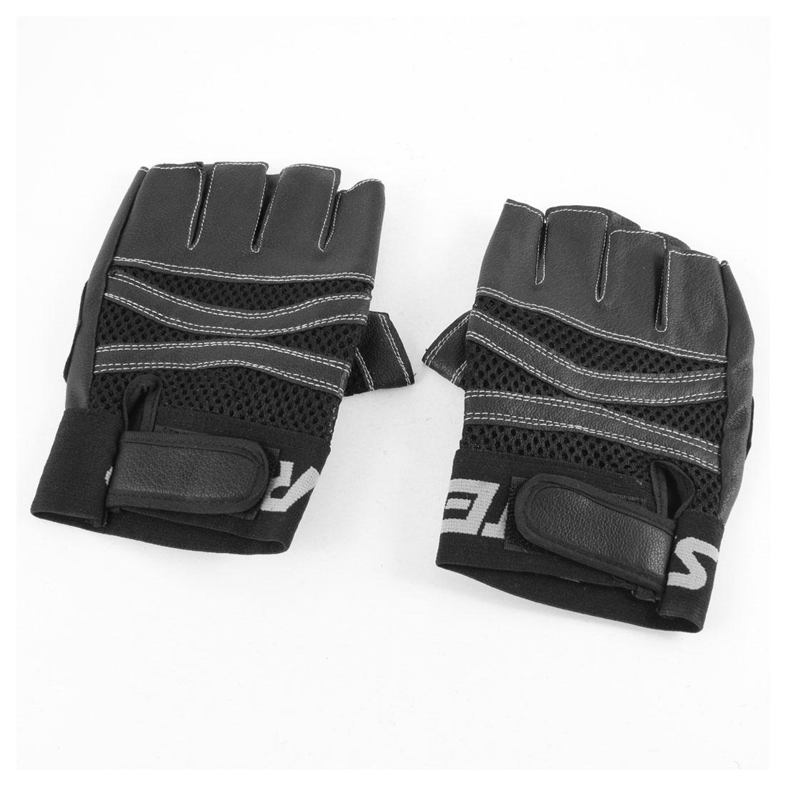 Men Black Faux Leather Hook Loop Closure Fingerless Sports Gloves Pair