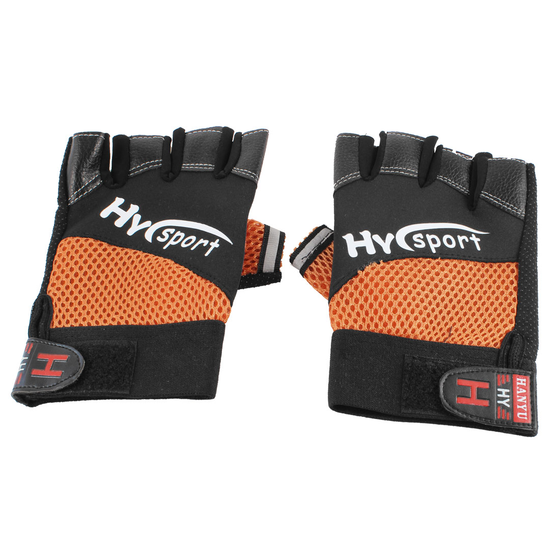 Pair Man Black Orange Mesh Hole Breathable Half Finger Sports Gloves