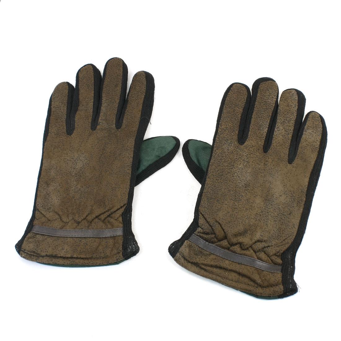 Pair Brown Green Full Finger Winter Thermal Gloves M Size for Unisex