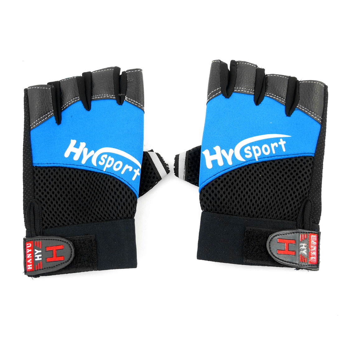 Pair Black Blue Mesh Holes Design Half Finger Antislip Sports Gloves for Men