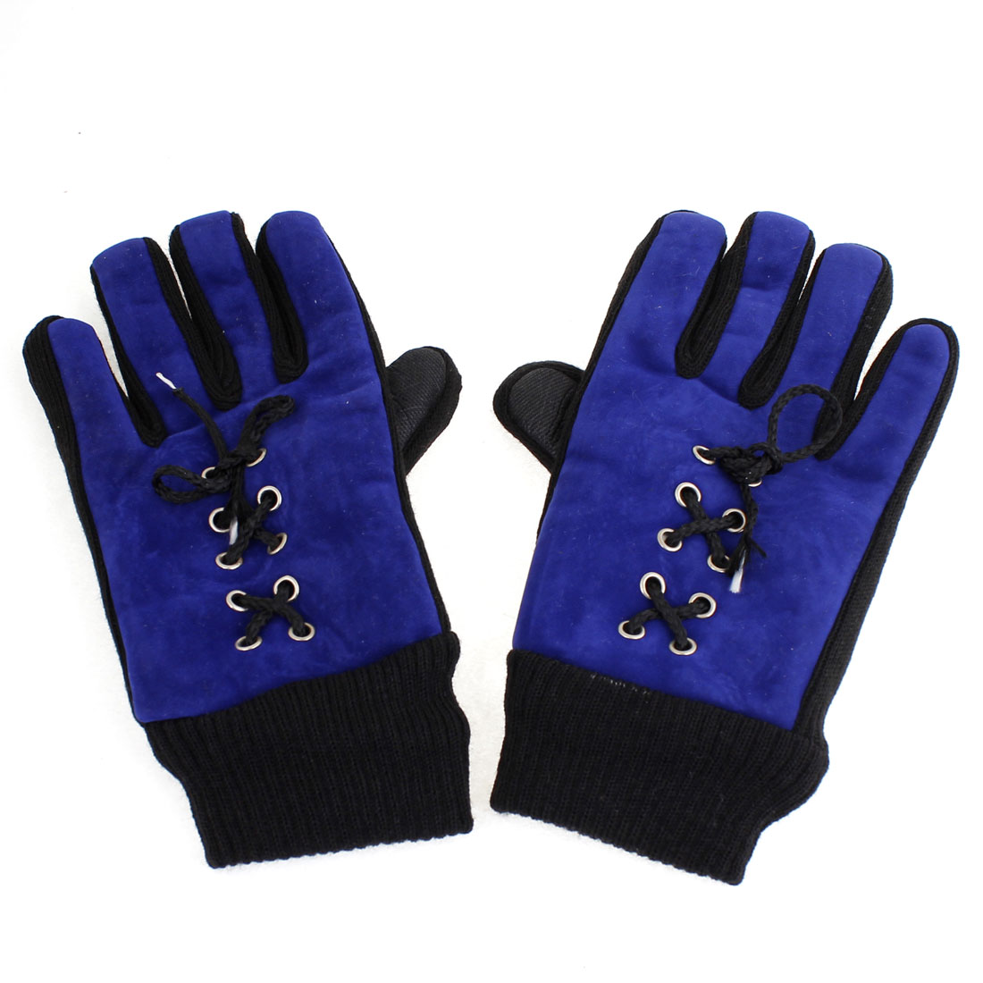 Pair Ribbed Full Fingers Lace Up Winter Gloves Blue Black for Ladies