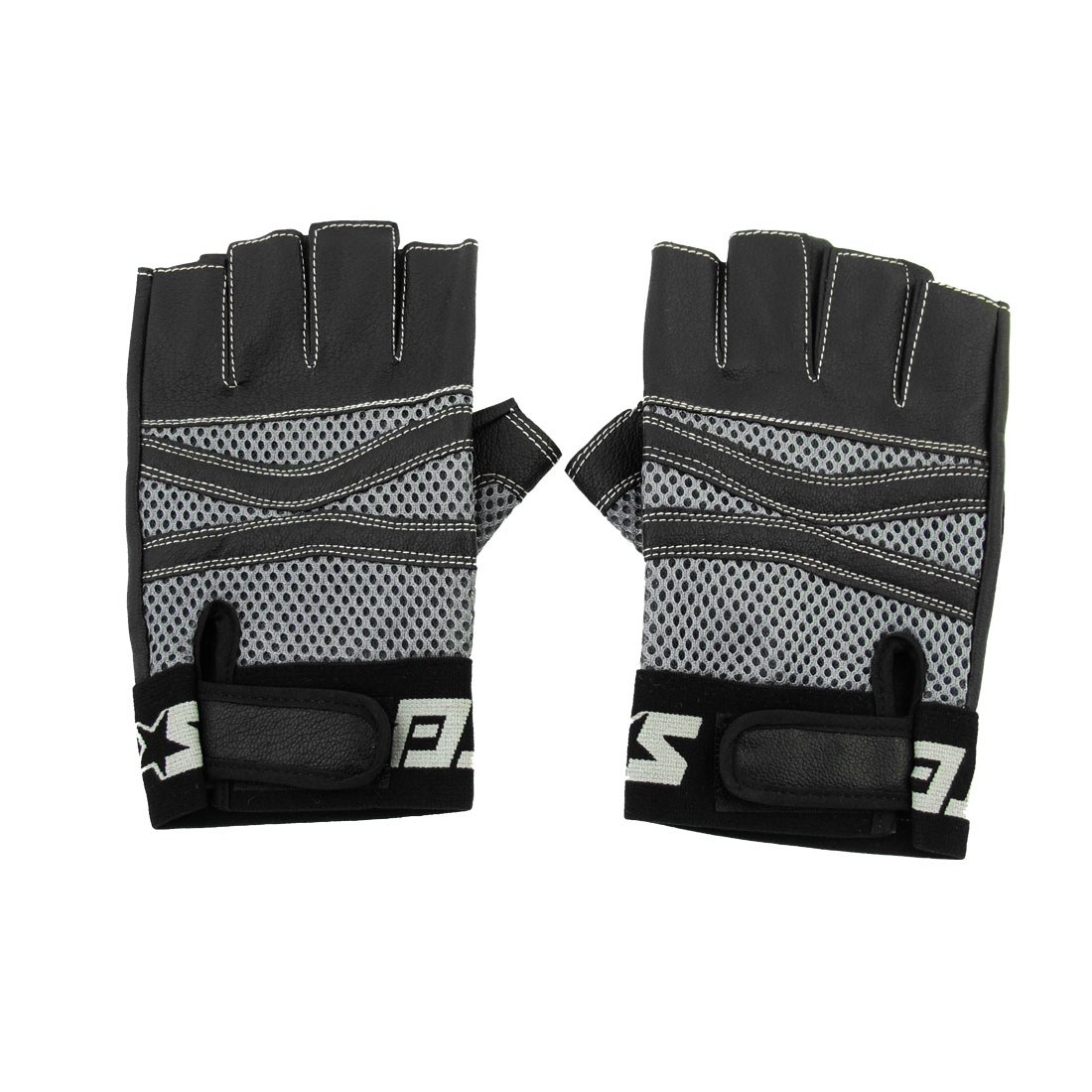 Men Black Gray Faux Leather Hook Loop Closure Half Finger Sports Gloves Pair