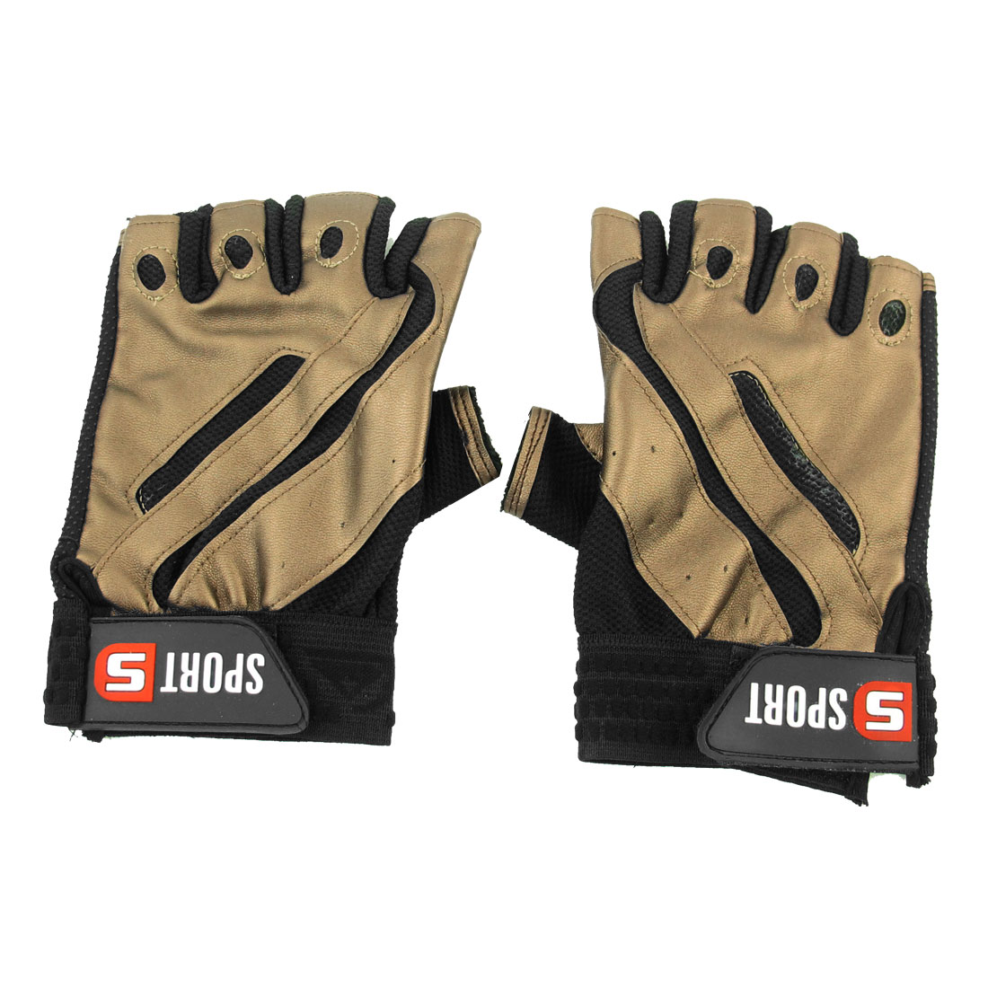 Men Nonslip Half Finger Bicycle Sports Gloves Black Coffee Color Pair