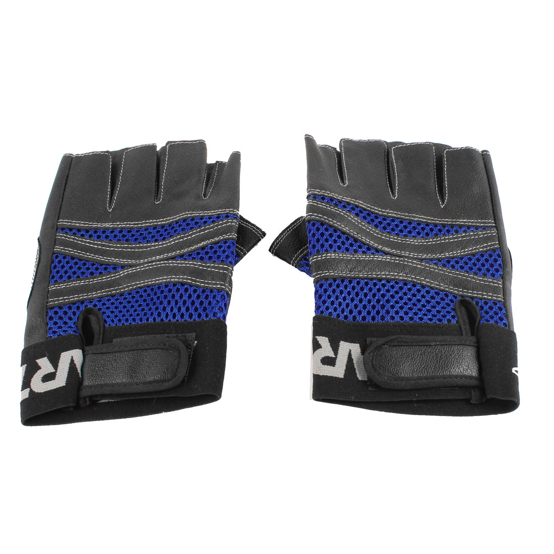 Men Black Blue Faux Leather Hook Loop Closure Fingerless Sports Gloves Pair