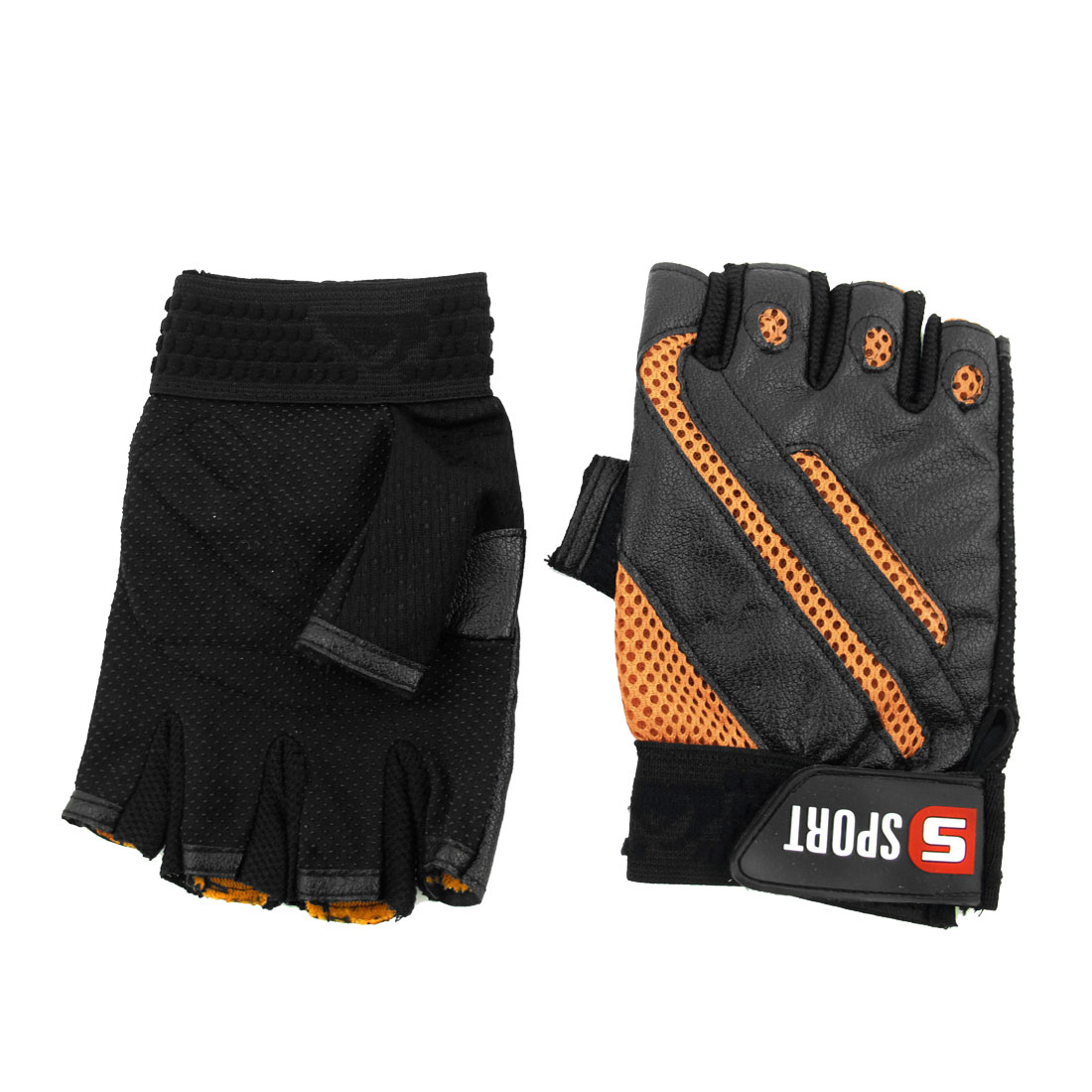 Man Hook Loop Closure Antislip Half Finger Sports Gloves Orange Black Pair