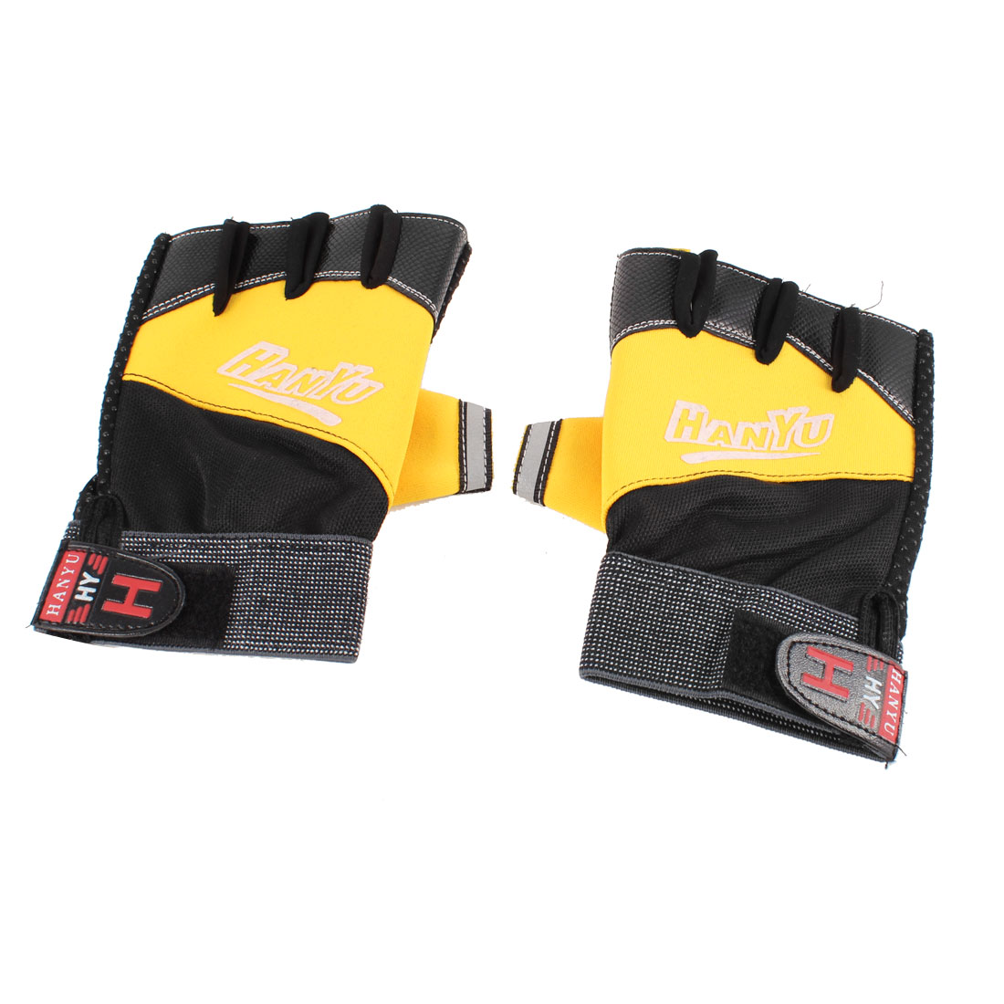 2 Pair Men Black Yellow Hook Loop Closure Fingerless Sports Gloves