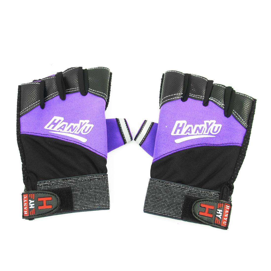 Men Black Purple Hook Loop Closure Antislip Half Finger Sports Gloves Pair
