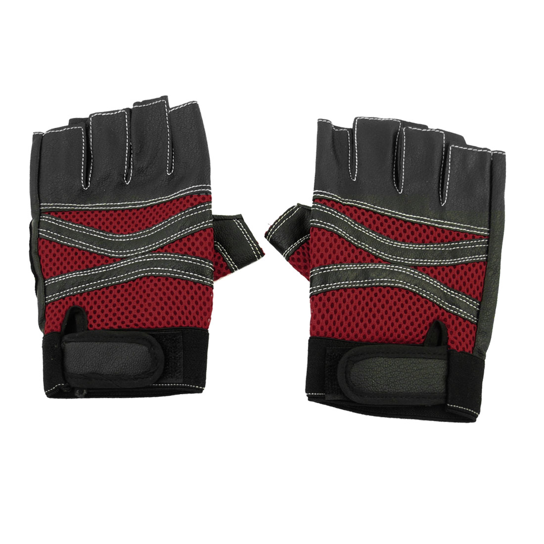 Pair Mesh Holes Breathable Faux Leather Fingerless Gloves Black Red for Men