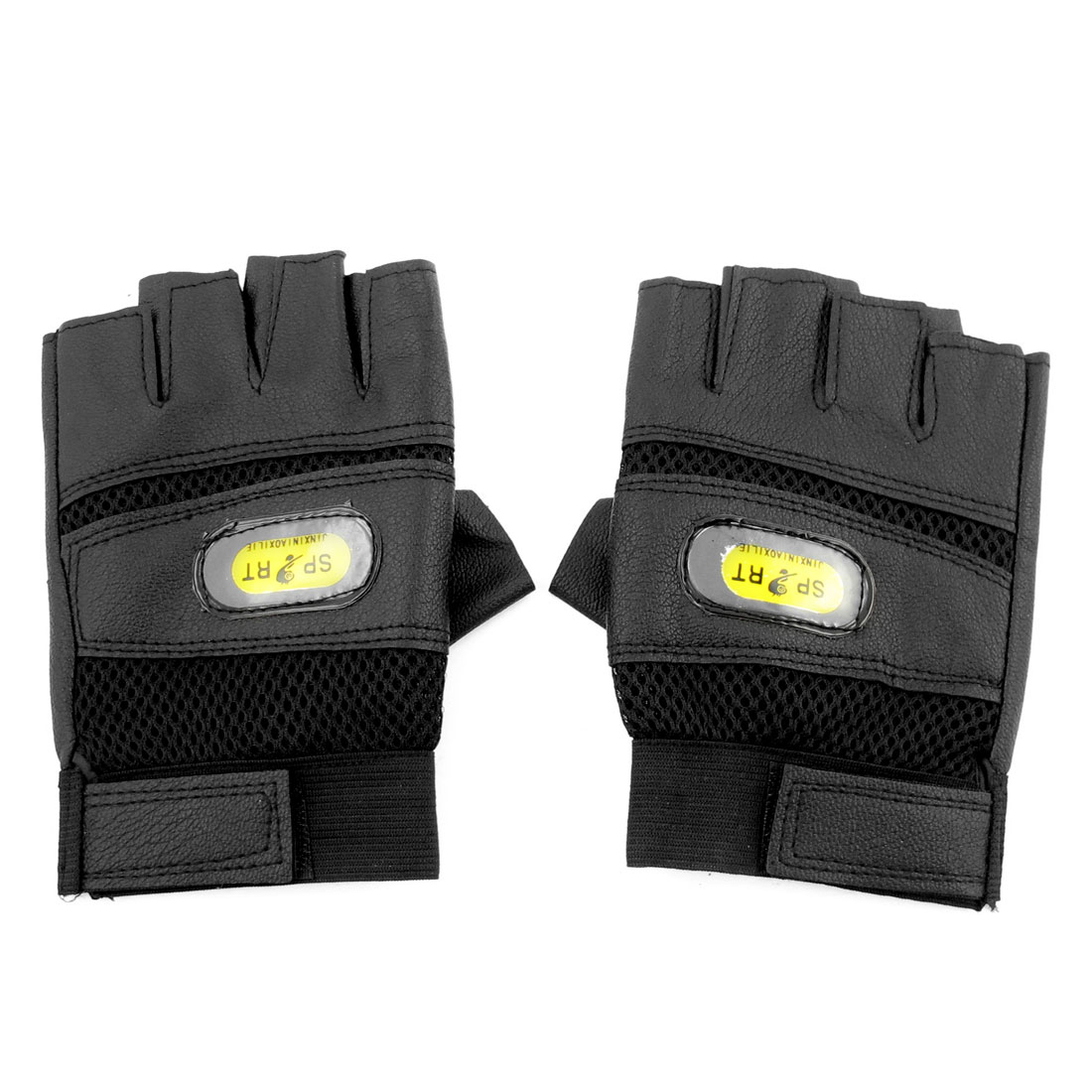 Man Black Faux Leather Mesh Holes Design Half Finger Sports Gloves Pair