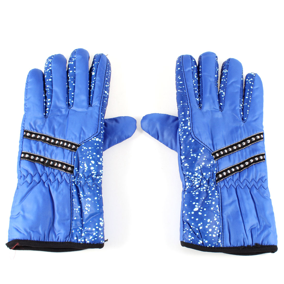 Lady Winter Outdoor Cycling Polyester Full Finger Warm Gloves Pair Blue
