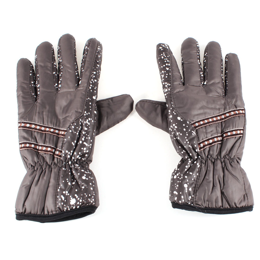 Lady Winter Outdoor Cycling Brown Full Finger Warm Gloves Pair