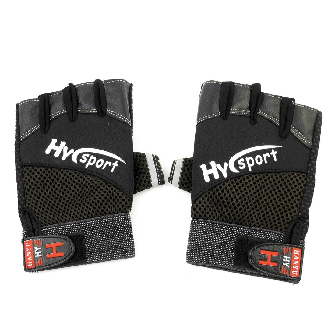 Men Black Letters Print Hook Loop Closure Half Finger Sports Gloves Pair