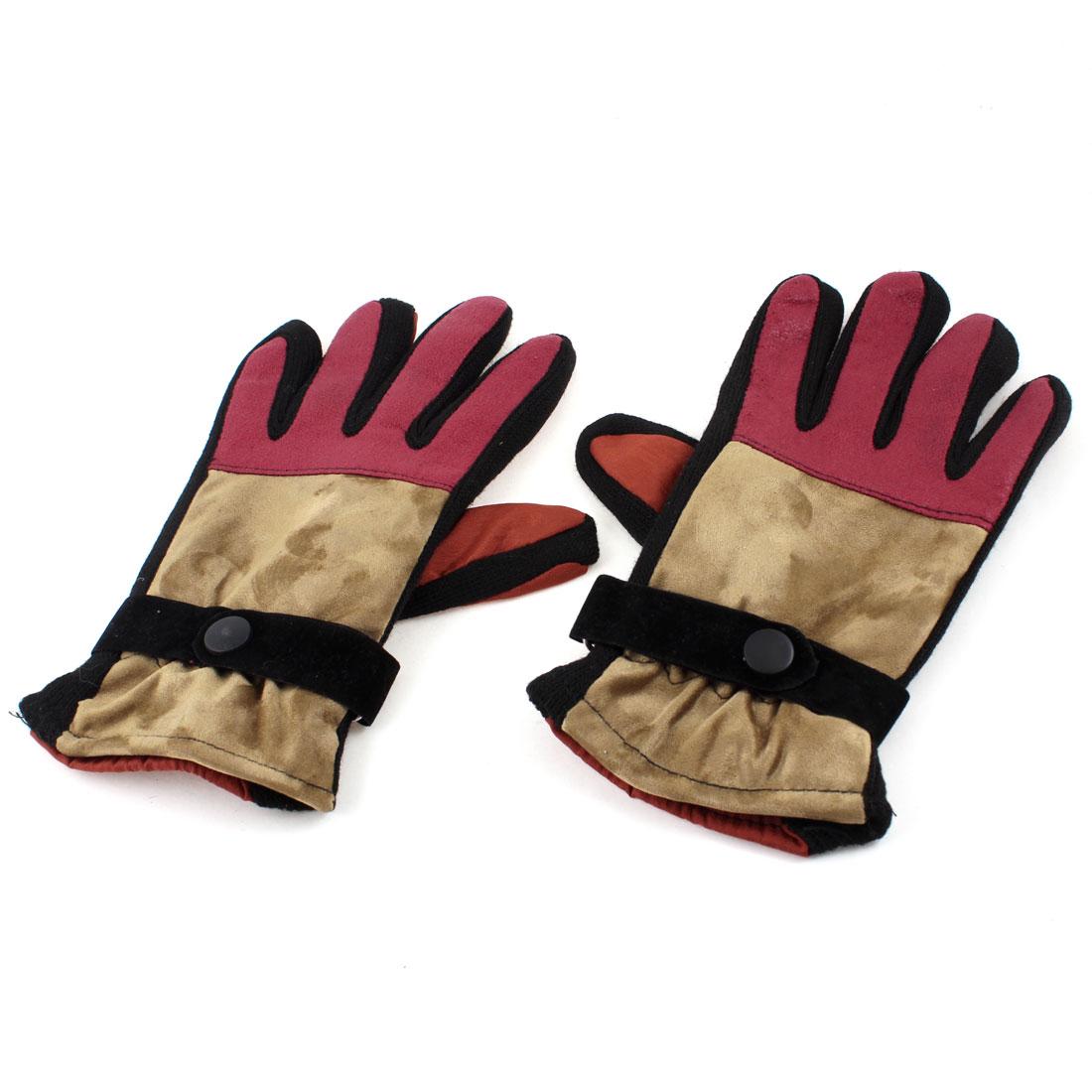 Lady Winter Press Button Riding Full Finger Fuchsia Orange Warm Gloves Pair