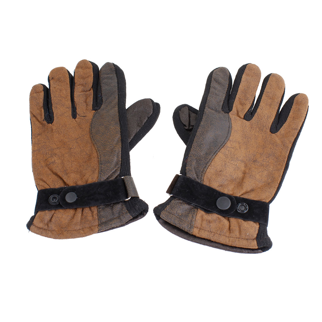 Ladies Dark Brown Outdoor Fleece Lining Warm Full Finger Gloves Pair