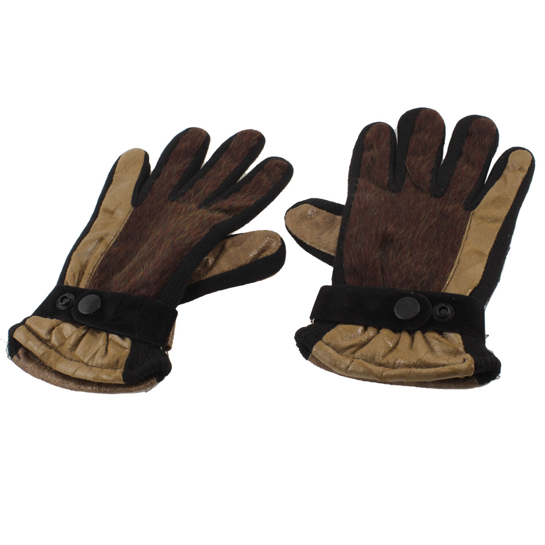 Ladies Brown Black Faux Leather Fur Coated Full Finger Palm Warm Gloves Pair