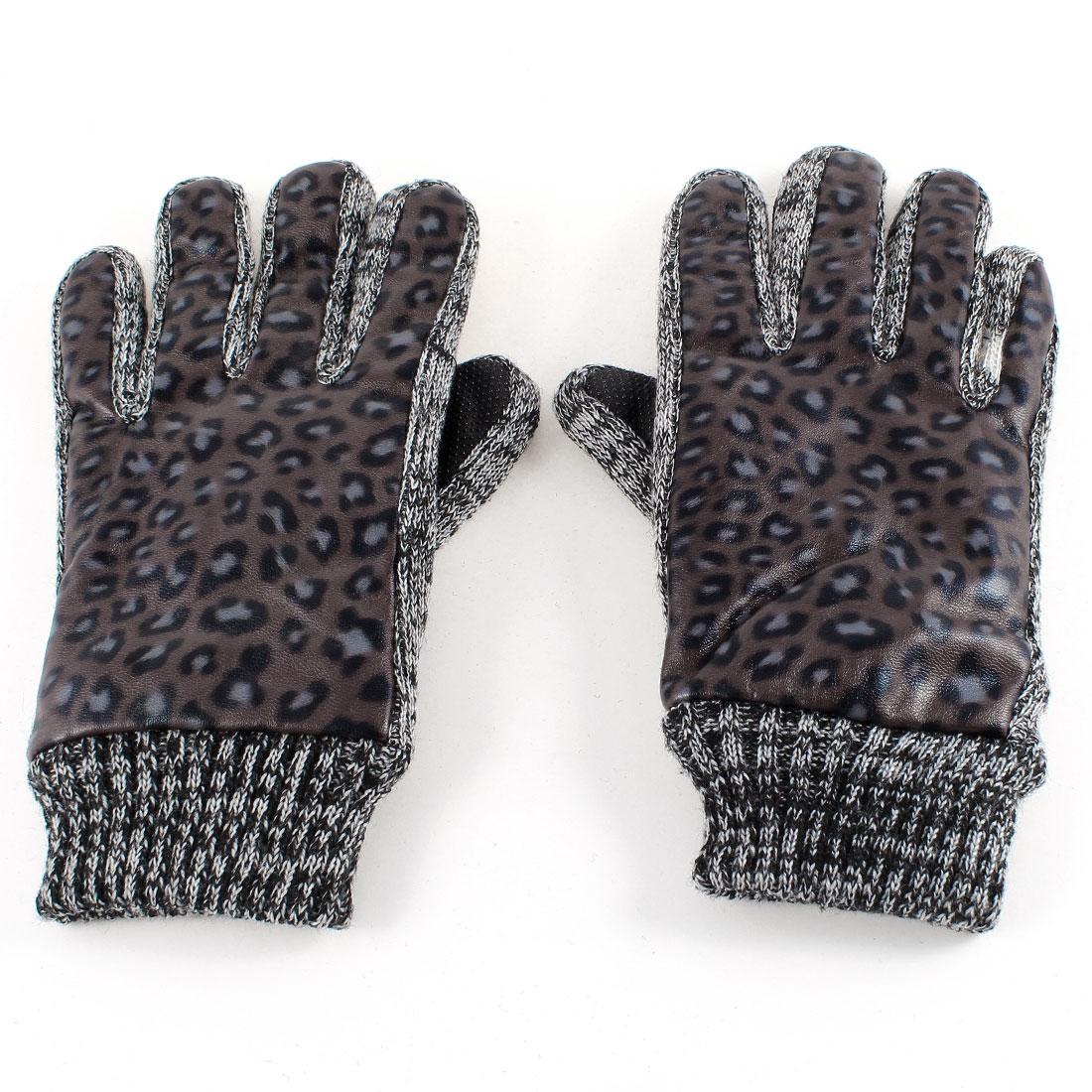 Pair Women Winter Warm Dark Brown Leopard Printed Full Finger Thick Gloves M