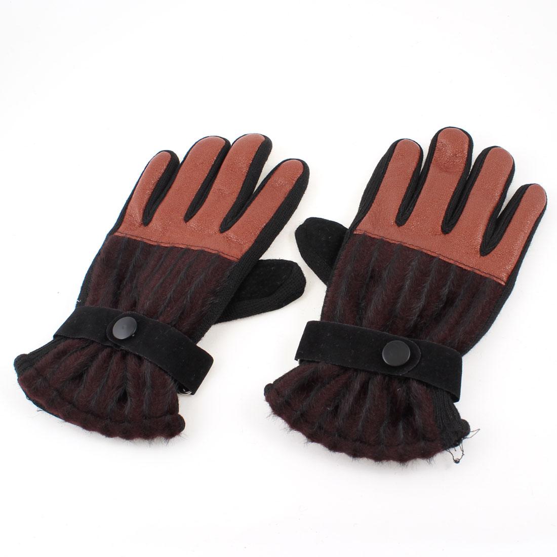 Ladies Orange Black Faux Leather Flannel Full Finger Palm Warm Gloves Pair