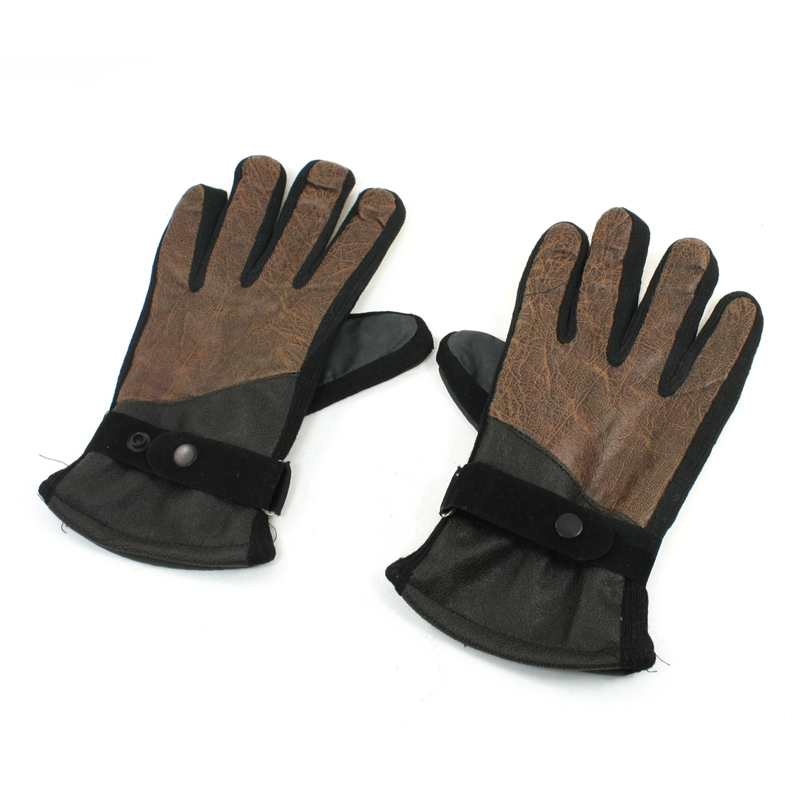 Man Woman Pair Brown Green Full Finger Thick Winter Warm Gloves M Size