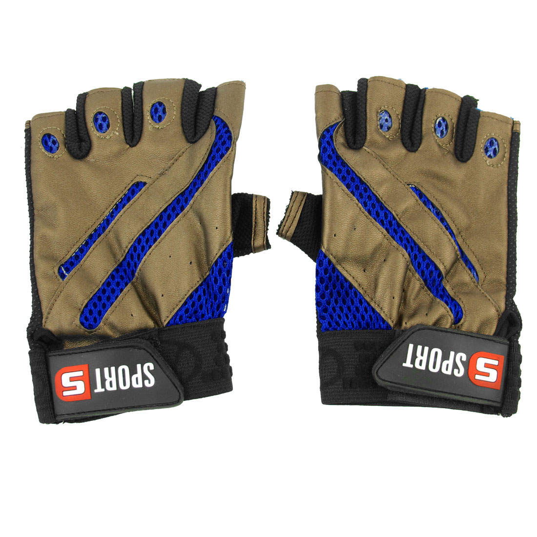 Men Hook Loop Closure Half Finger Bicycle Sports Gloves Blue Coffee Color Pair