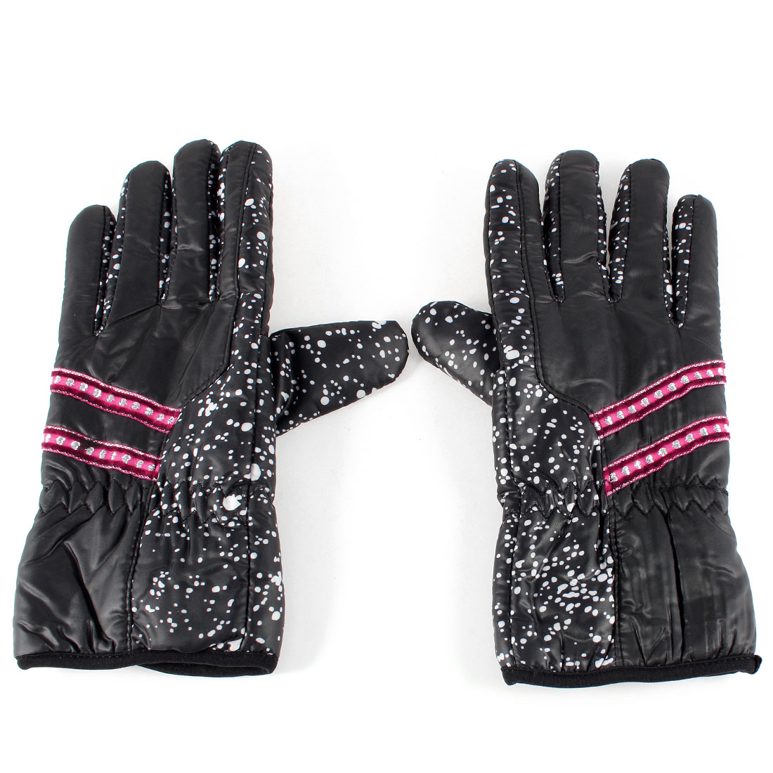 Lady Winter Outdoor Cycling Polyester Full Finger Warm Gloves Pair Black