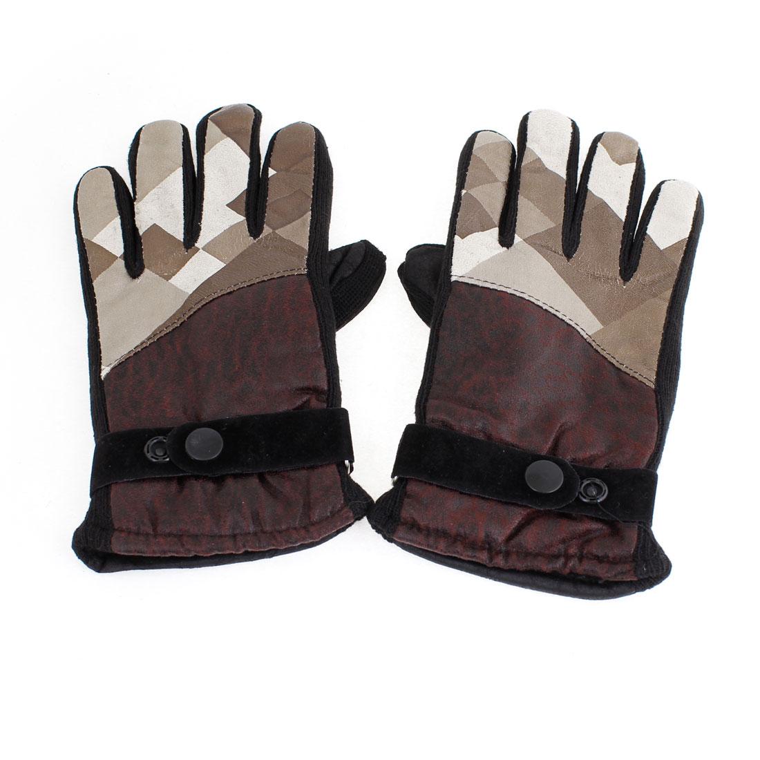 Ladies Fleece Lining Full Finger Winter Bicycle Gloves Burgundy Khaki Pair