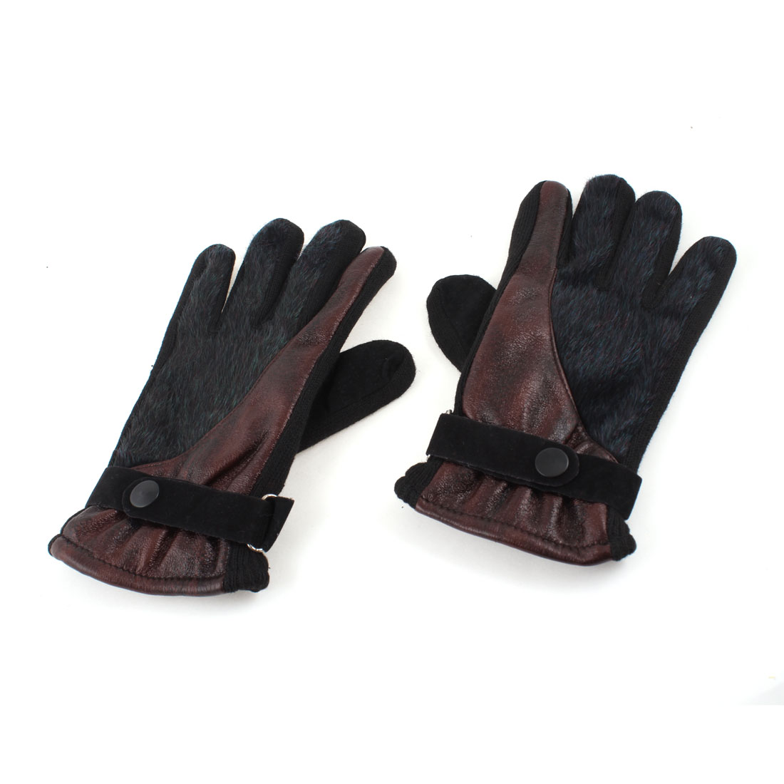 Ladies Dark Red Green Faux Leather Fur Coated Full Finger Palm Warm Gloves Pair