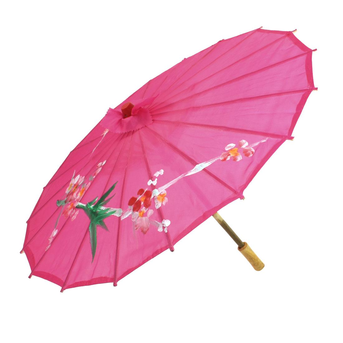 57cm Wooden Handle Plum Blossom Bamboo Folded Fuchsia Chinese Umbrella