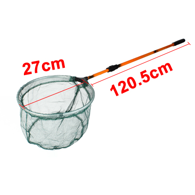 Telescopic 2 Sections Handgrip Round Frame Fishing Landing Net