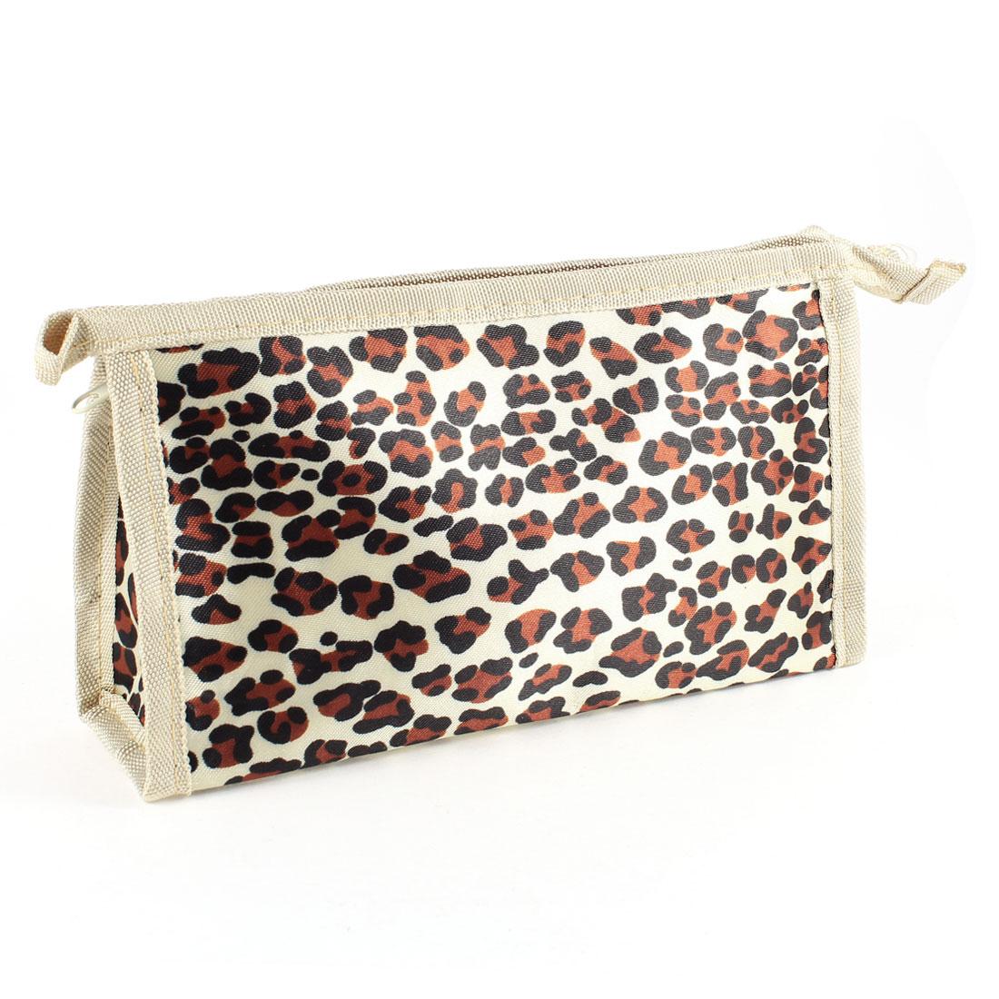 Women Beige Nylon Leopard Prints Zippered Cosmetic Pouch Bag Holder