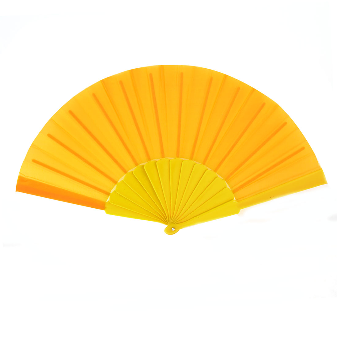 Summer Portable Plastic Yellow Frame Folded Foldable Hand Fan Orange